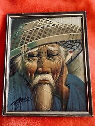 Vtg Asian Bearded Man In Straw Hat Painting On Tobacco Leaves