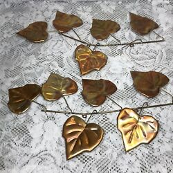 Set of 2 Vtg Leaves On Branches Brass Copper Metal Wall Hanging Decorations MCM