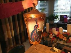 Antique Hanging Light Fixture Reverse Painted Glass Panels of Peacocks ?