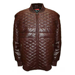 New Big And Tall Franchise Club Menand039s Diamond Leather Bomber Jacket Burgundy 4xl