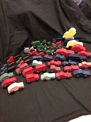 Vintage Wooden Toys Cars Trucks Tractors And More Lot