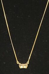 Rare Monsanto Employee 10kt Gold And Diamond Necklace Vintage 10k Yellow Gold