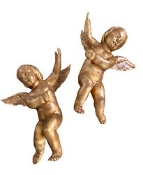 Antique Pair Of Wood Carved Gilt Cupid's Cherub'sangel's Putti's - Wall Hangings