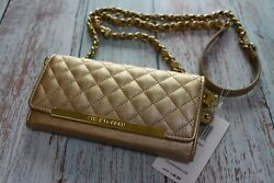 NWT Steve Madden Quilted Logobar Gold Clutch Wallet with Crossbody Chain Strap $36.00