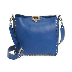 $2350 Valentino Hobo Small Rockstud Blue Leather Shoulder Bag $1499.00