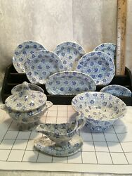 Antique Doll's Faience Table Set Dishes Blue Transferware 13pcs Lovely Creamware