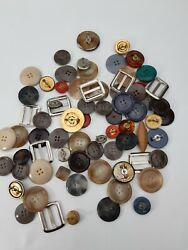 Vintage Huge Button Lot - Hole And Pinback Plastic And Metal Various Shapes And Sizes