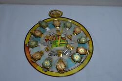 Rare 12 Vintage Kids Tin Toy Watches On Store Display- Japan 60´s
