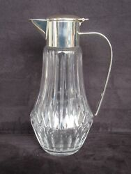 Vintage Cut Crystal And Silver Plate Pitcher, Made In Western Germany