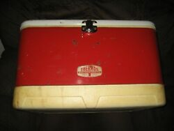 Vintage Thermos Large Red Metal Cooler Ice Box Chest With Drain Bottle Openers