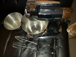 1970s Vintage Chrome Sunbeam Power Plus Mixmaster Stand Mixer 16 Speed Complete