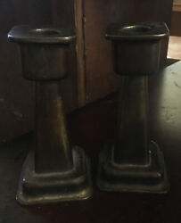 Antique Rare Arts And Crafts Copper Mission Style Candle Sticks Signed Square Base