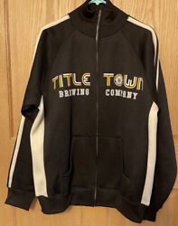 Green Bay Wisconsin Title Town Brewing Company Black Zip Track Jacket Mens Large