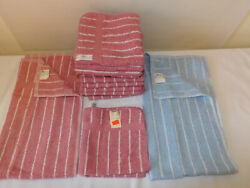 Vintage Cannon Mauve Pink And White Stripe Hand Towels Washcloths 60s 70s Blue
