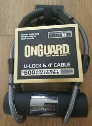 Onguard U-lock 4-foot Cable Anti-theft Key Lock Protection Security Rating 4