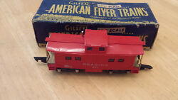 American Flyer S Train Reading 630 Lighted Red Caboose W/link C's W/original Box