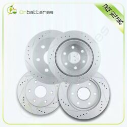 Front + Rear Drilled And Slotted Brake Rotors For 2002 - 2006 Cadillac Escalade