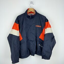 Clemson Tigers Vintage Champion Windbreaker Jacket Size Xl Blue Spell Out Ncaa