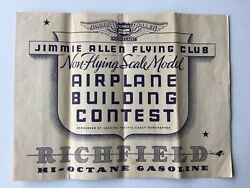 Vintage 1930's Jimmie Allen Flying Club Model Plane Building Contest Rules