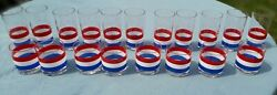 Georges Briard 19 Vintage Mcm Red White Blue July 4th Cocktail Glasses