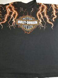 Vintage 90s Harley Davidson Thunder And Lightning T-shirt Size 3xl Super Rare