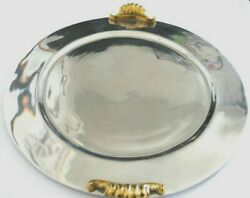 Herco S.a Vintage Heavy Silver-plated Serving Tray Brass Handle With Design