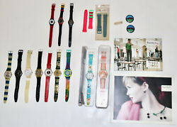 Swatch Watch Vintage Lot Set Watches Catalogs Bands Pins