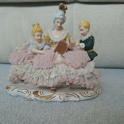 Gorgeous Dresden Porcelain Lace Figurine Mother W/ Children Reading Story Time