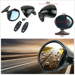 Pair Classic Style Door Wing Blue Anti-glare Side Mirror Vintage Black For Car