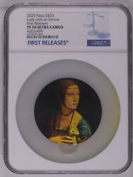 Ngc Pf70 Fr Palau 2020 Lady With An Ermine Micromosaic Passion Silver Coin 3oz