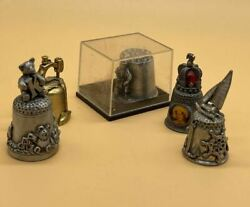 Collection Of 5 Vntage/ Retro Pewter And Metal Collectible Decorative Thimbles