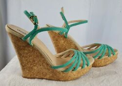 Charlotte Russe Womenand039s Wedge Sandal Strappy Heel Size 9.5 Teal