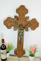 Large Antique Wood Carved Crucifix Cross Religious