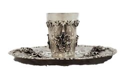 925 Sterling Silver Handmade Heavy Floral Applique Ornate Chased Cup And Tray
