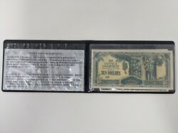 Genuine Japanese Uncirculated 10 Banknote 1941 In Custom Holder And Cert
