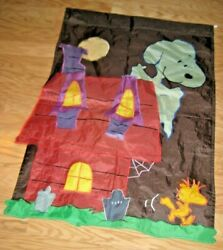 Large Flag Snoopy And Woodstock Haunted Doghouse Halloween Nylon Appliqued