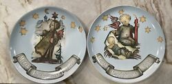 2 Mj Hummelcollector Plates Guiding Light 1989 And Tender Watch 1990 Goebel