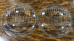 """Pair Of Orig Ford Script Twolite Headlamp Headlight 9"""" Lens 71122 Fluted Curved"""