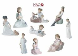Nao Lladro Set Set Girl Boy Child With Puppy Dog 9 New Porcelain Figures