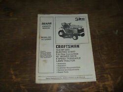 Sears Craftsman 917.255693 3one Lawn Tractor Operator Maintenance Parts Manual