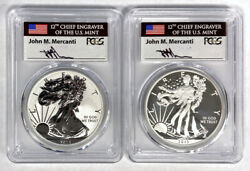 John M. Mercanti Signed 2013-w Silver Eagle Two Coin Set - Pcgs Sp70 And Pr70