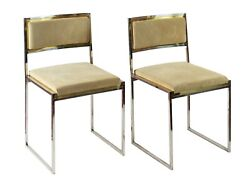 Pair Of Mid Century Italian Brass And Suede Chairs By Willy Rizzo