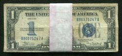 """Lot Of 50 1934 1 One Dollar """"funnyback"""" Silver Certificates Lower Grade"""