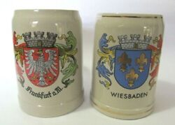 Vintage Gerz W.germany Frankfurt A.m. And Weisbaden .5l Beer Mugs Steins Lot Of 2