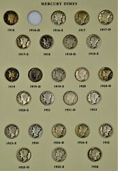 Mercury Dime Collection Au, Bu And Some Toned 77 Coins Missing 1916d