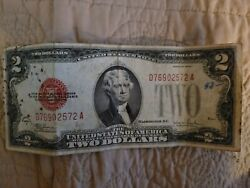 1928 D United States Red Seal Two Dollar Bill