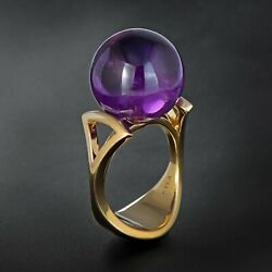 Incredible 14k Gold 31.5 Carat Amethyst Sphere Ultra Modern Solitaire Ring