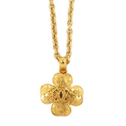 Clover Coco Mark Long Necklace Gold 96a Vintage Accessory 90121714
