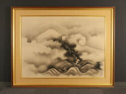 Nw1777 Japanese Antique Framed Painting Mt. Fuji And Dragon By Kano Tanyu
