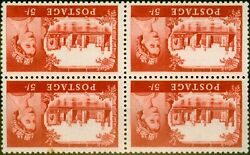 Gb 1963 5s Red Sg596a Wi Wmk Inverted Fine Mnh Block Of 4 Rare